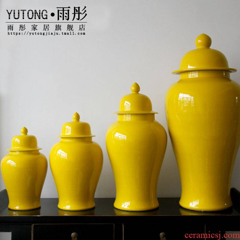 Grain decoration of jingdezhen ceramic vase manual example room flower arranging yellow glaze to live in the sitting room porch receive furnishing articles