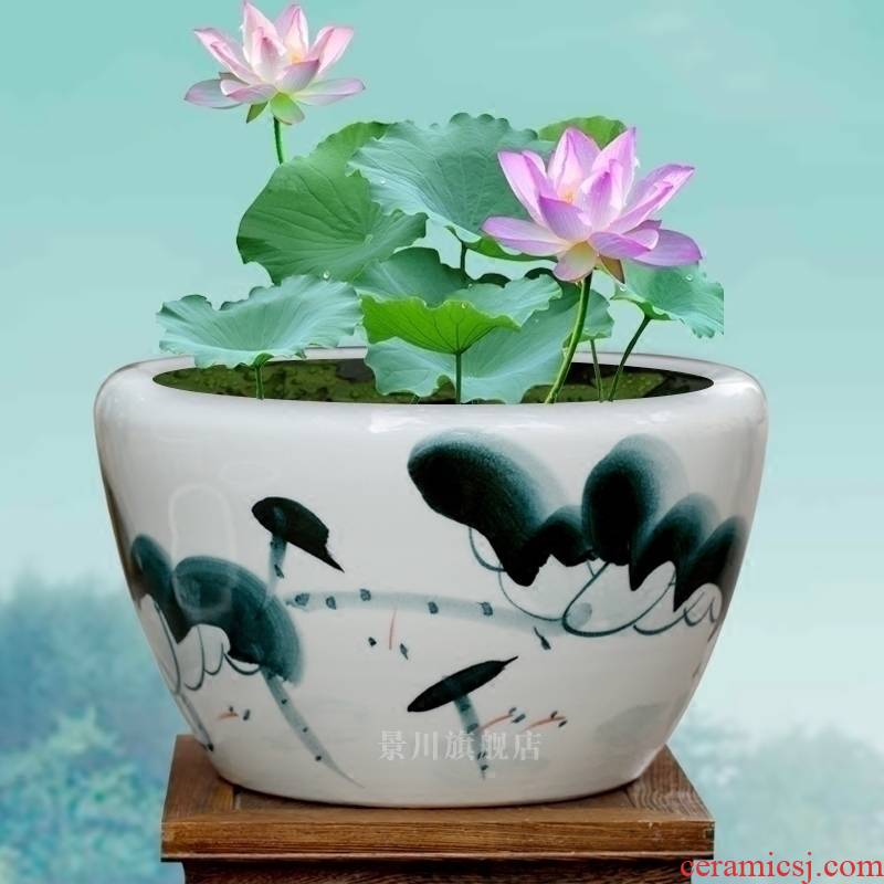 Hand - made goldfish bowl of blue and white porcelain of jingdezhen ceramics tortoise cylinder lotus basin water lily courtyard sitting room adornment is placed