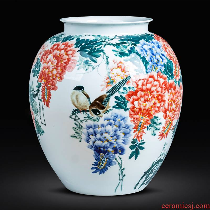 Jingdezhen ceramics hand - made painting of flowers and big new Chinese style household decorative vase sitting room decoration shop furnishing articles