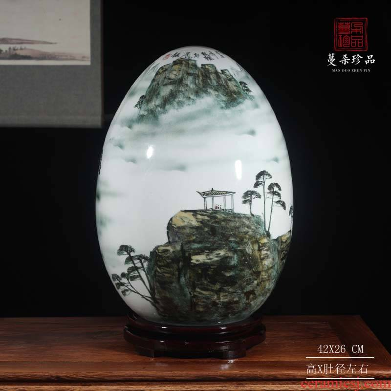 Jingdezhen blue and white porcelain hand - made an egg vase sitting room TV ark cabinet wall adornment bedroom vase