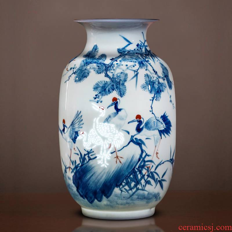 Jingdezhen porcelain ceramic hand - made thin body new Chinese style household vase living room TV ark, flower adornment furnishing articles
