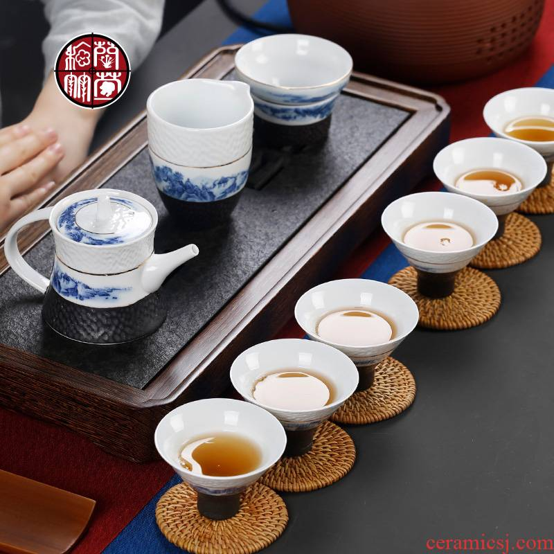 Kung fu tea set the teapot teacup home sitting room of a complete set of Chinese blue and white porcelain ceramic tea tea Chinese wind