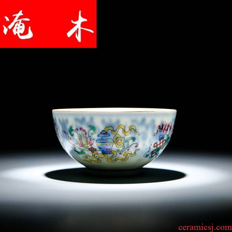 Submerged wood powder enamel paint masters cup of jingdezhen ceramic triangle flowers pattern circle blue maintain single cup tea tea cups