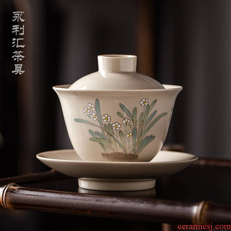 Wynn collect three to a single manual small tea tureen tea kungfu cup three fort jingdezhen ceramic bowl