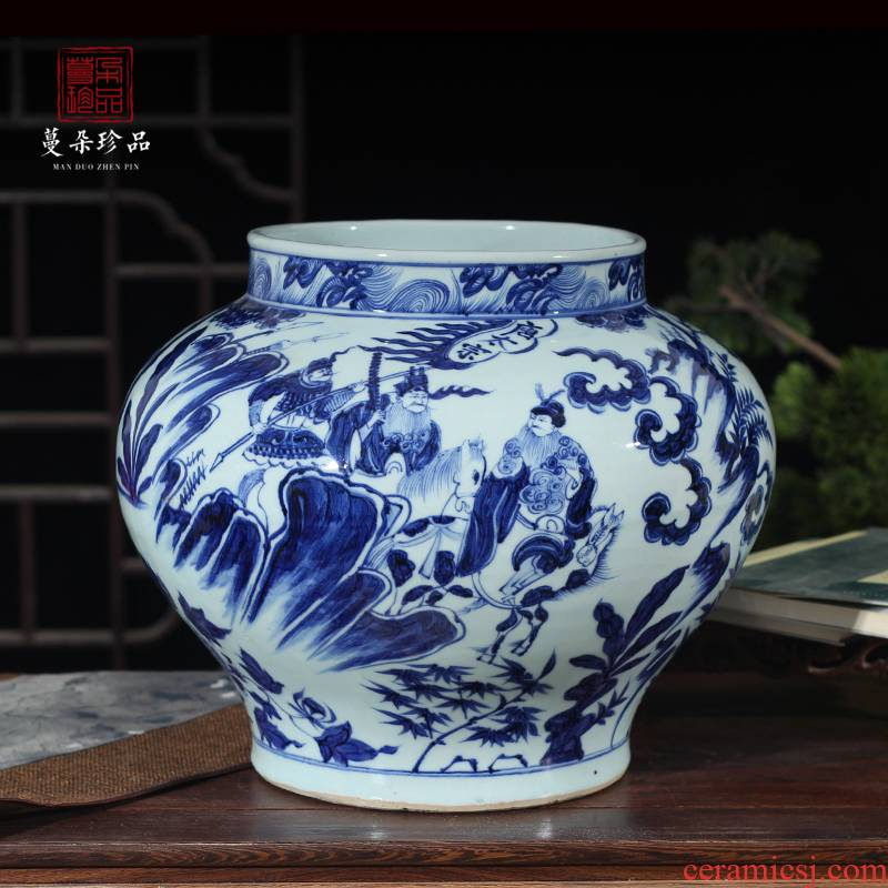 Jingdezhen imitation blue - and - white yuan blue and white big pot of yuan blue and white emperor taizong WeiChi ready and protect the main porcelain jar of antique porcelain