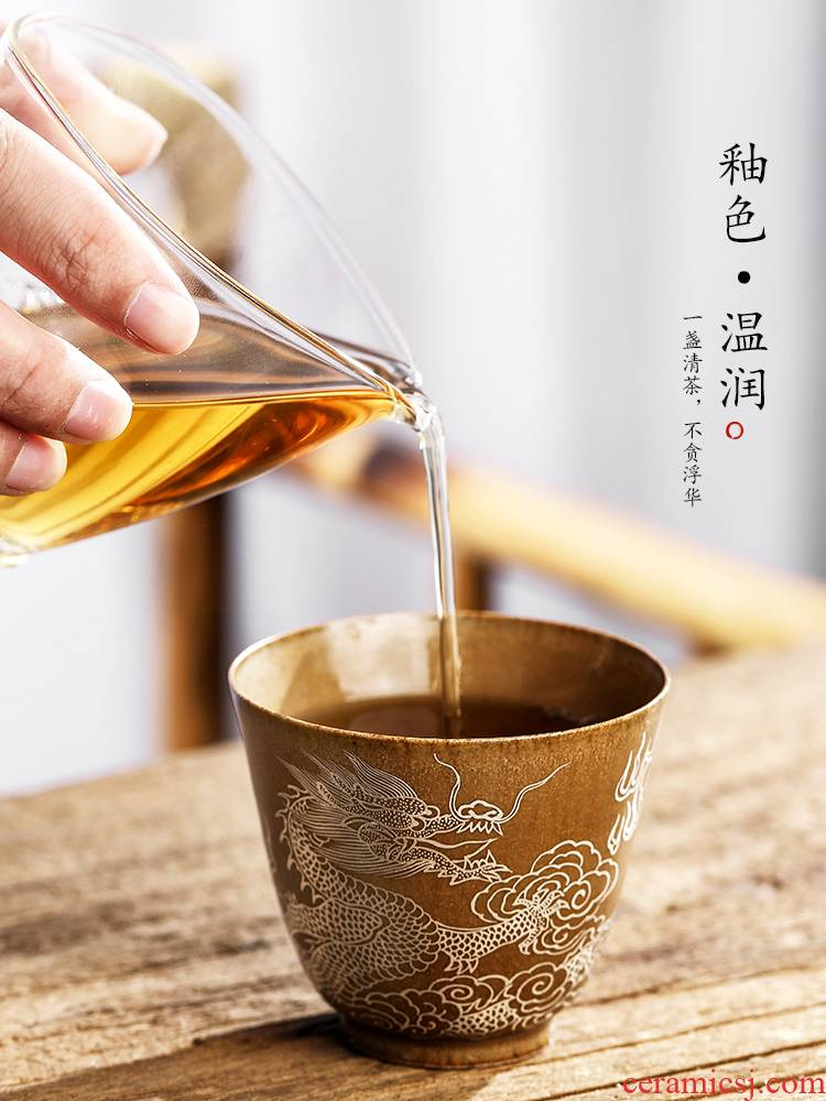 Jingdezhen checking silver made zodiac dragon master cup single cup your up kung fu tea cups ceramic sample tea cup single male