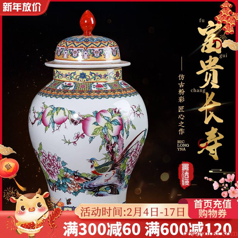 Jingdezhen ceramics home with cover general storage tank is archaize enamel pot furnishing articles sitting room TV cabinet decoration