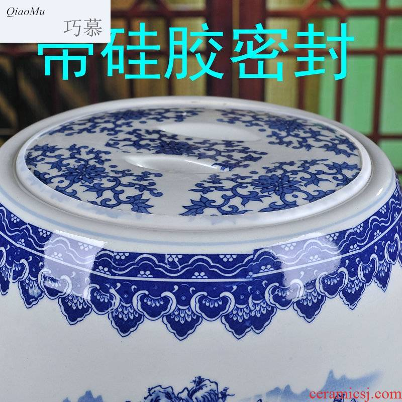 Qiao mu jingdezhen ceramic barrel rice bucket 50 jins home 20 jins storage bins with cover sealing insect - resistant moistureproof