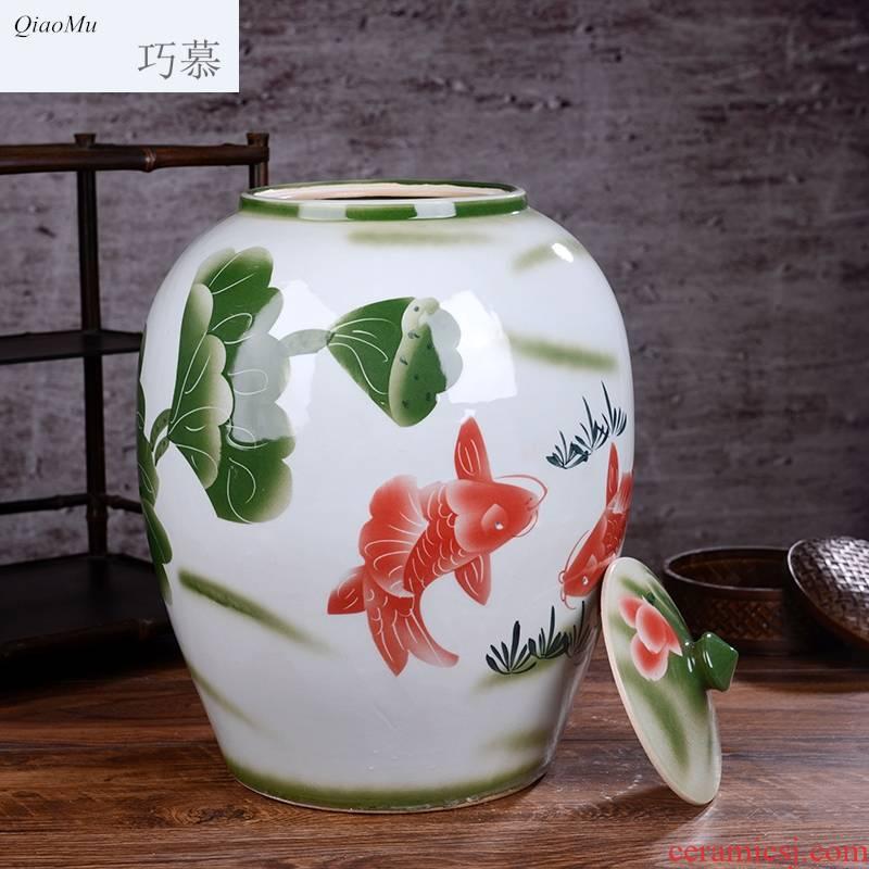 30 jin qiao mu ricer box ceramic barrel storage ricer box meter box rice flour can of oil storage places home receive 50 kg tank