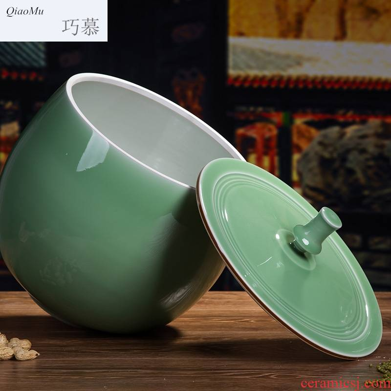 Qiao mu ceramic insect - resistant barrel ricer box jingdezhen manual shadow celadon dry tea tea cylinder cylinder storage in the kitchen