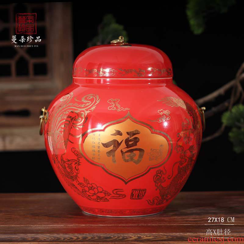 Jingdezhen elegant red cover pot festive wedding gifts red special ceramic new decorative furnishing articles