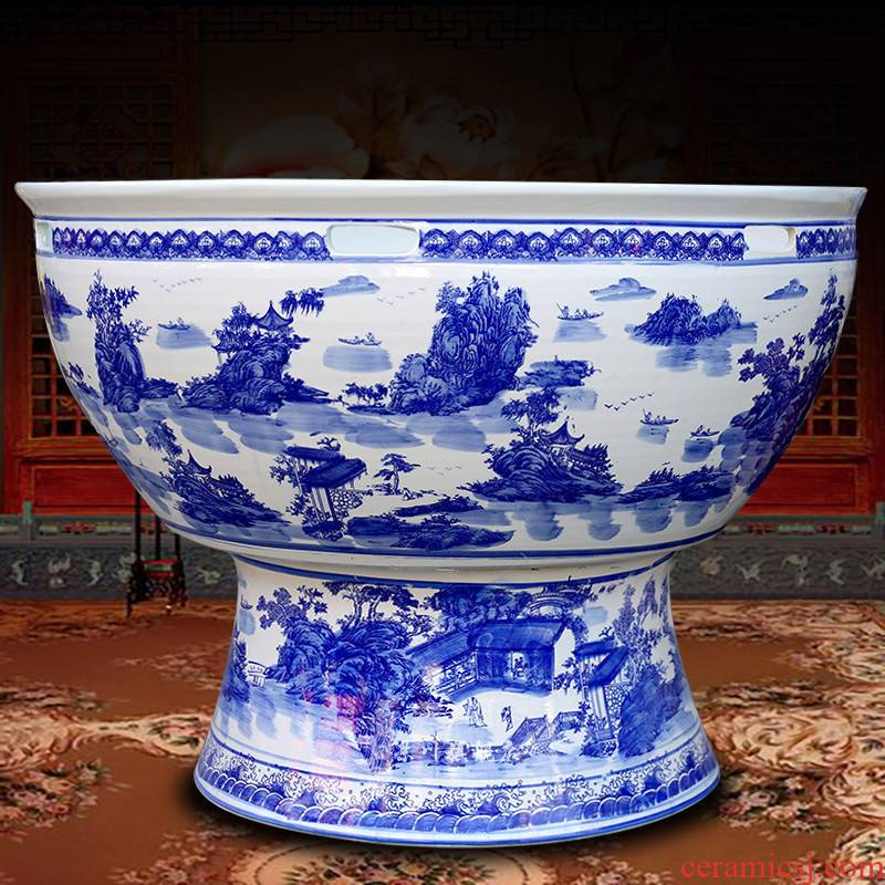 Blue and white porcelain of jingdezhen ceramics porcelain landscape painting with a foot basin tortoise cylinder aquarium fish tank water lily