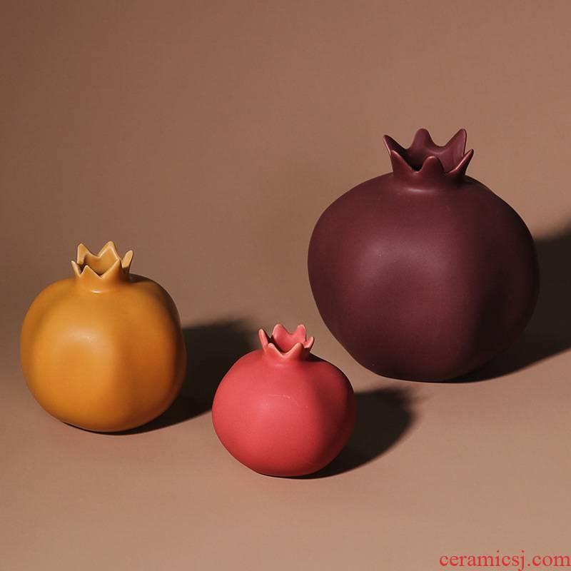 Chinese modern morandi color ceramic pomegranate model room home sitting room designer duds soft adornment furnishing articles