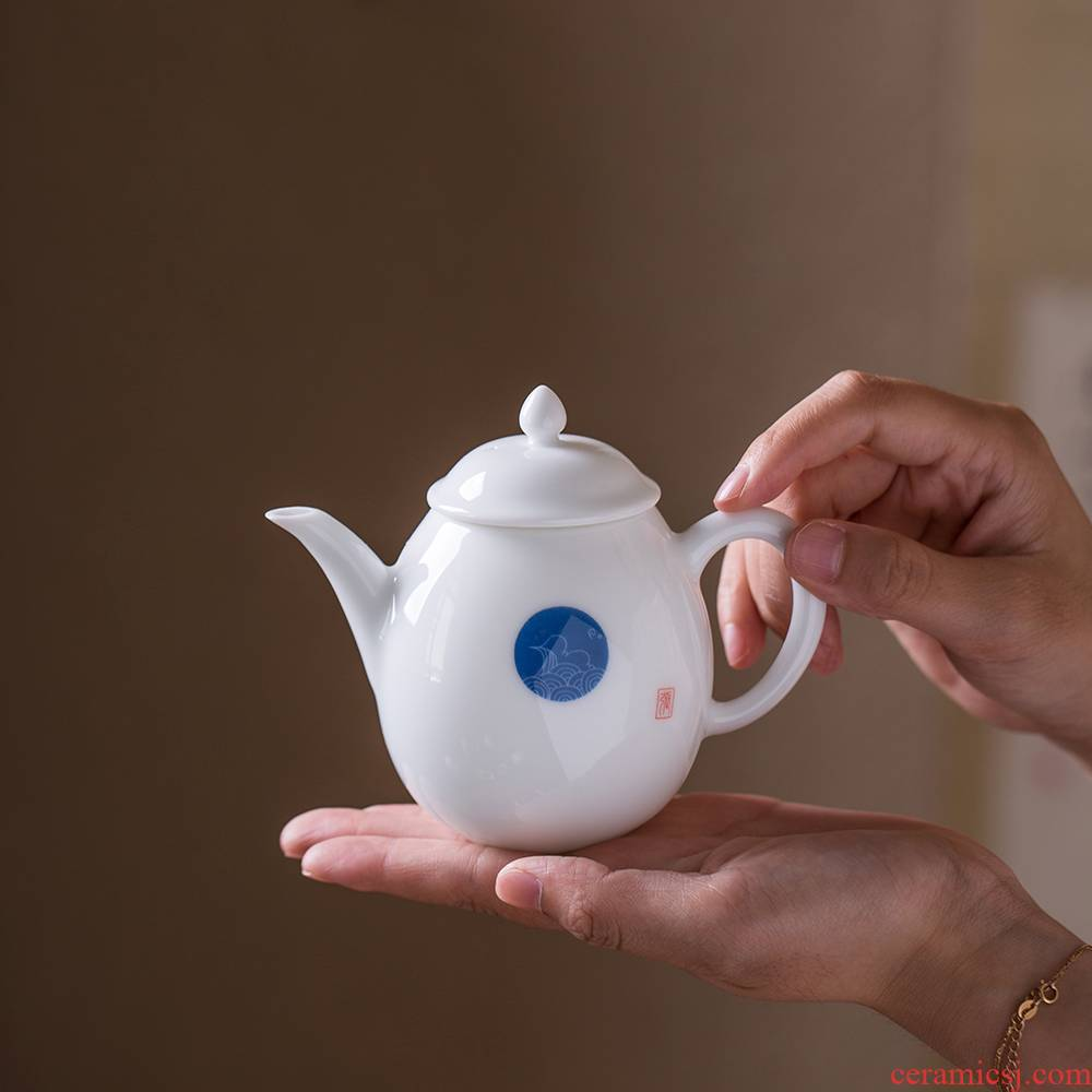 Jingdezhen ceramic single pot small kung fu tea teapot small single one with white porcelain porcelain Japanese contracted
