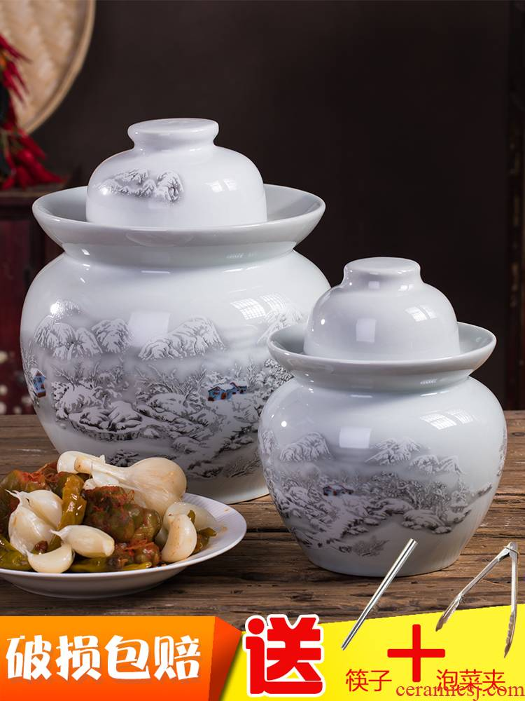 Household ceramics jingdezhen pickle jar jar pickle jar earthenware old as cans of salted pickle jar with cover seal
