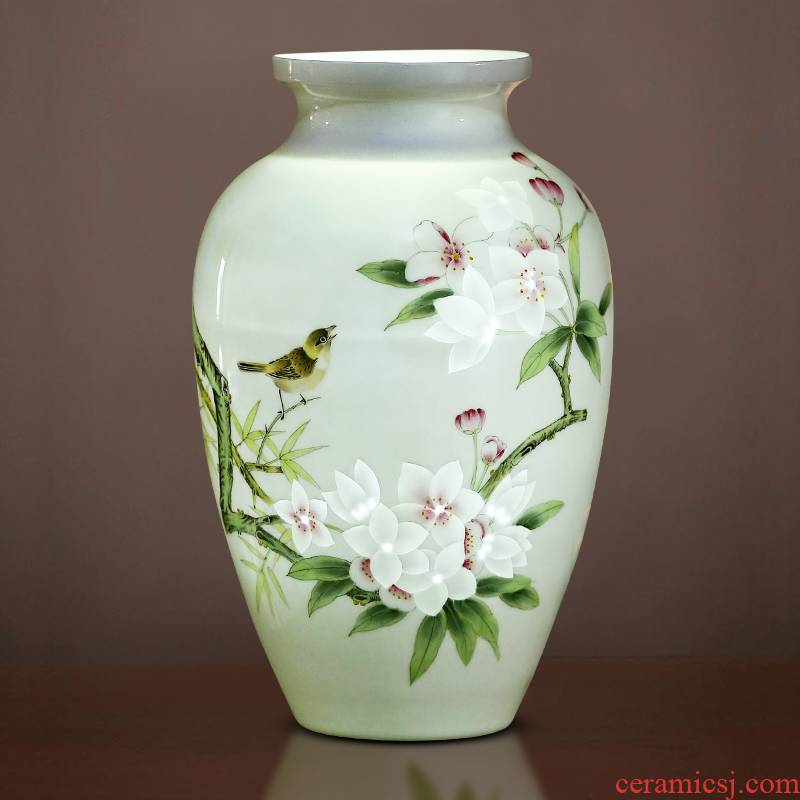 Jingdezhen porcelain ceramic vase hand - made thin body new Chinese style household living room TV ark, flower adornment furnishing articles