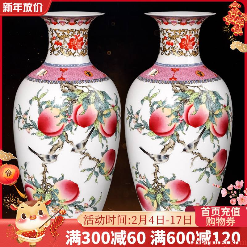 Archaize of jingdezhen ceramics powder enamel vase furnishing articles of Chinese style living room home flower arrangement of TV ark, wine accessories