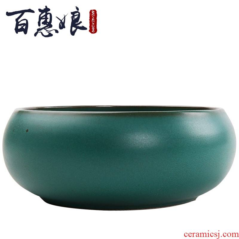 (niang coarse pottery tea wash hot Japanese large ceramic bucket water jar to restore ancient ways with a cup of tea is the tea taking zero building water washing