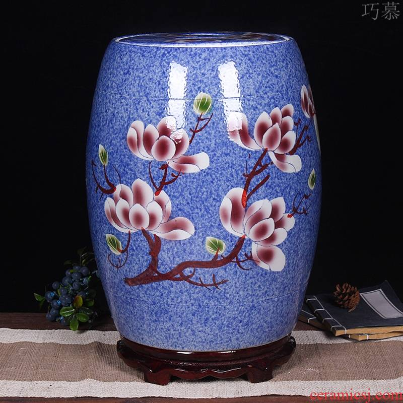 Qiao mu jingdezhen ceramic barrel ricer box 20 jins 30 jins home with cover seal storage tank is 50 kg oil cylinder to kitchen