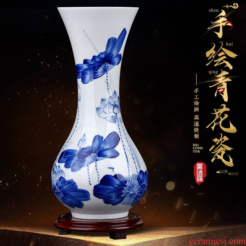 Jingdezhen ceramics hand - made of blue and white porcelain vase furnishing articles sitting room of the new Chinese style household flower arranging TV ark, adornment