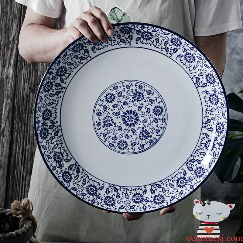 Degree of rocky, blue and white big plate of household head special dish steamed fish large round steamed fish dish ceramic disk