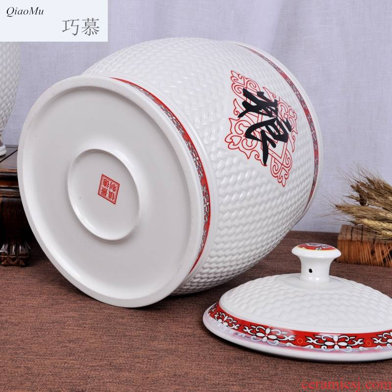 Qiao mu jingdezhen ceramic barrel feng shui plutus ricer box store meter box home 20 jins with cover seal storage flour