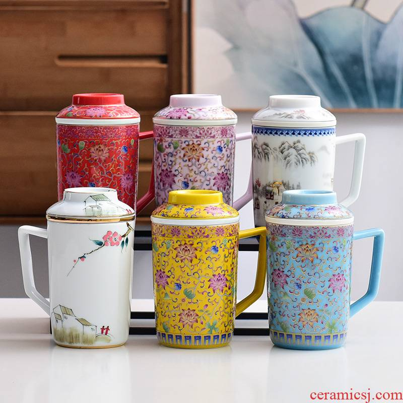 Jingdezhen colored enamel glass tea cup home office with cover filter personal special tea cup silver cup