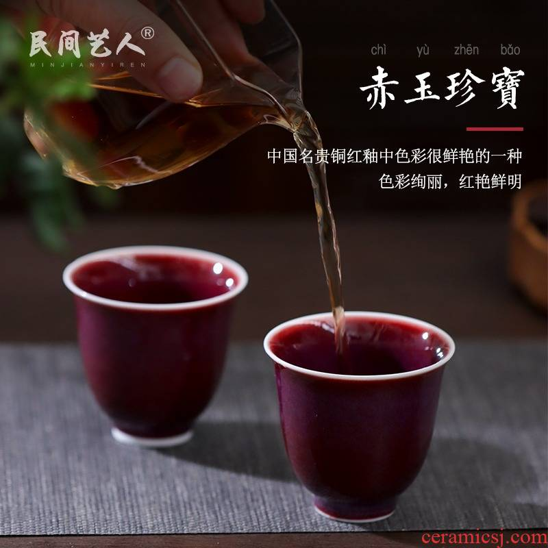 Lang, safflower god of jingdezhen ceramics craft master cup single CPU kung fu tea sample tea cup household small bowl