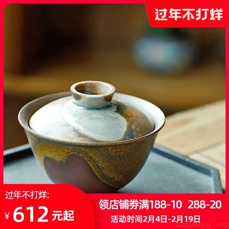 Jingdezhen firewood orphan works hand made 】 【 tureen tea cup pure manual dust tea tea bowl of a single nature