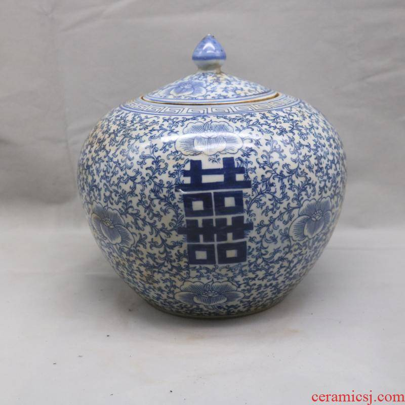 Blue and white tie up four various branches of the republic of China watermelon cover pot tea antiques no junk old goods porcelain retro furnishing articles