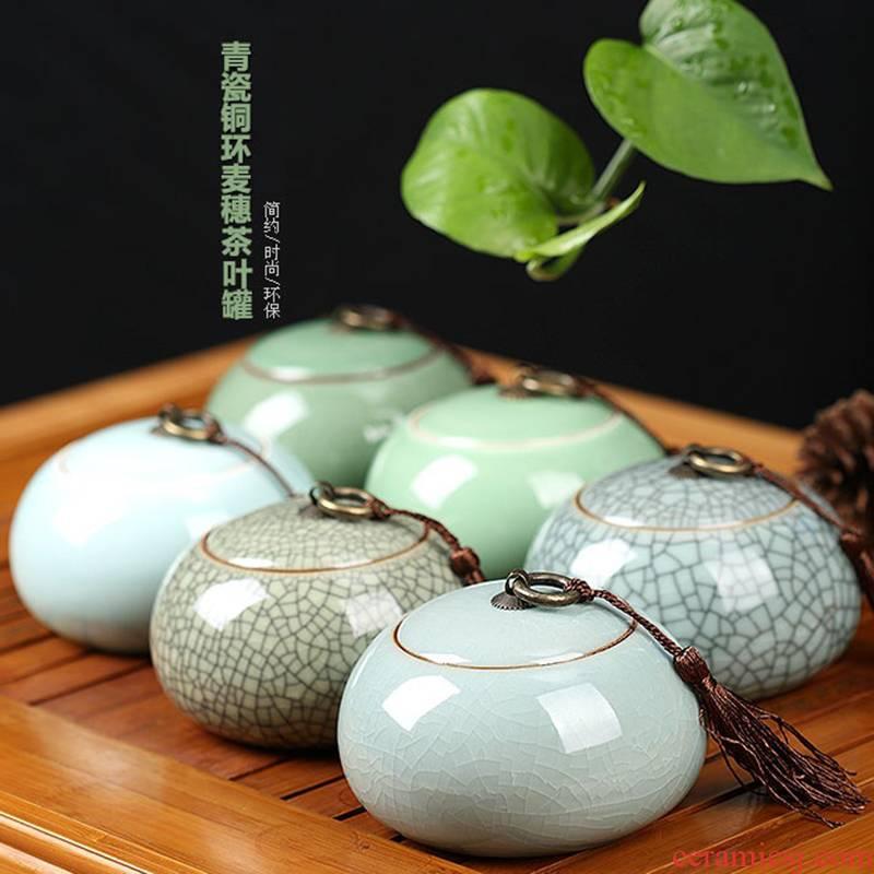 Longquan celadon big yards tea caddy fixings warehouse loading portable box of large storage tanks ceramic tea set tea sealed as cans