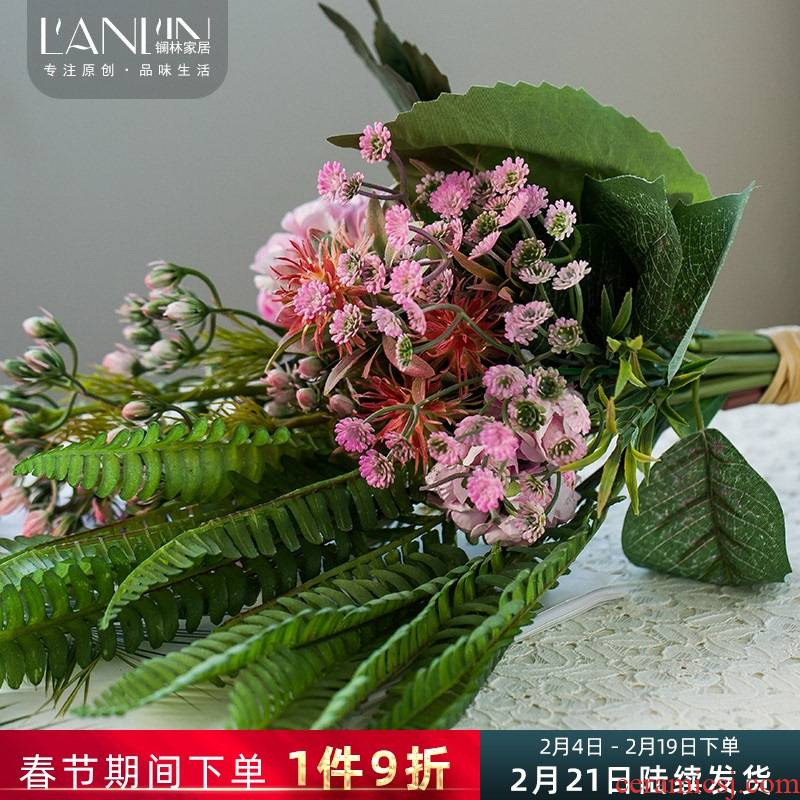 Nordic little fresh flowers simulation flower vase decoration in the sitting room decorate the table silk flower arranging flowers, dried flowers, ceramic furnishing articles