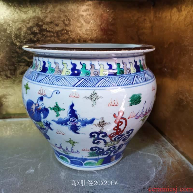 Jingdezhen longfeng small grain porcelain cylinder group longfeng porcelain cylinder diameter 20 high 20 Long Qilin censer porcelain