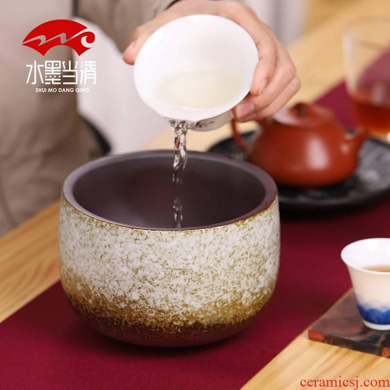 Coarse pottery tea wash water jar with Japanese zen tuba basin ceramic tea tea service parts archaize wash cup restoring ancient ways