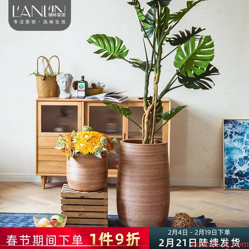 Ground vase decoration flower arranging furnishing articles Nordic contracted creative home sitting room green plant large clearance of ceramic flower POTS