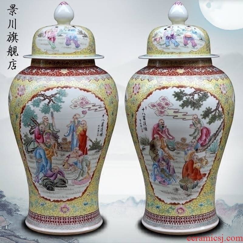 Jingdezhen ceramic general tank hand - made of pastel 18 arhats sitting room of large vase household stores furnishing articles