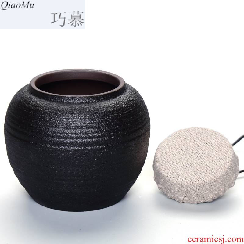 MuJuFu zen wind restoring ancient ways opportunely, black pottery caddy fixings large medium small carbon sealing as cans ceramic pottery coarse pottery store