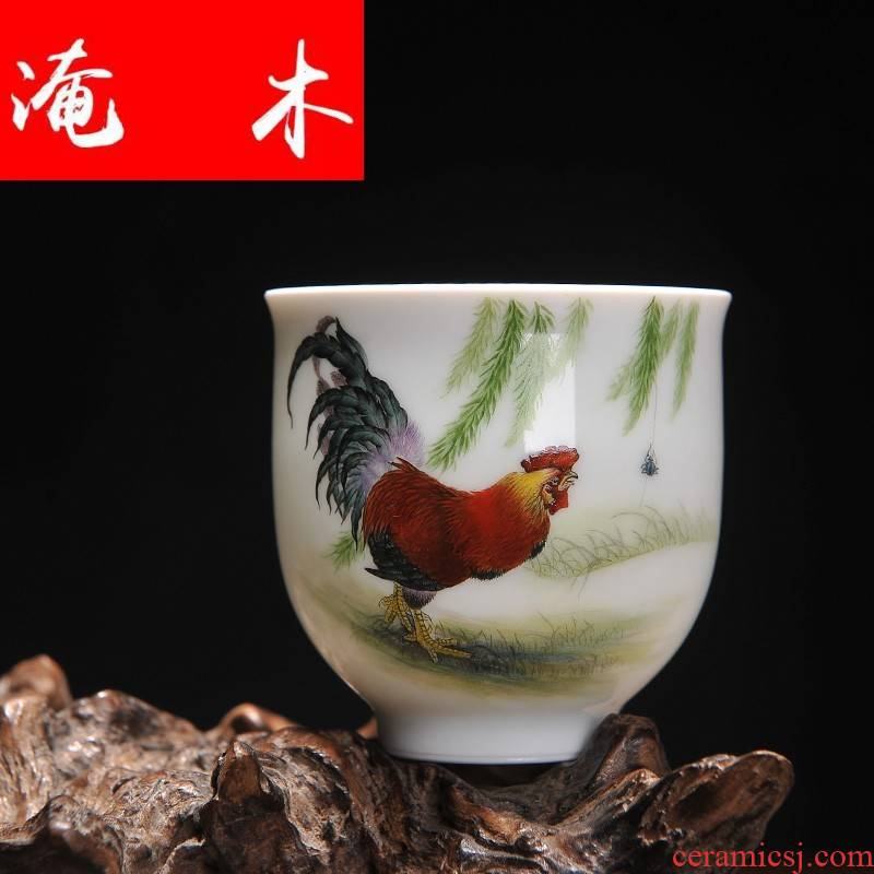 Submerged wood | fine traditional Chinese realistic painting, hand - made three - fair figure single CPU thin foetus tea cups jingdezhen pastel the new color rooster