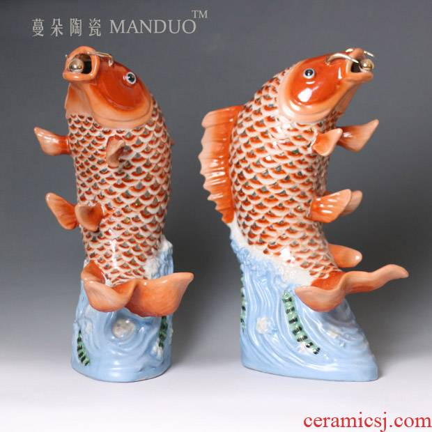 Red carp ceramic porcelain its auspicious Red carp furnishing articles ornaments in successive years more than fish moral act the role ofing is tasted