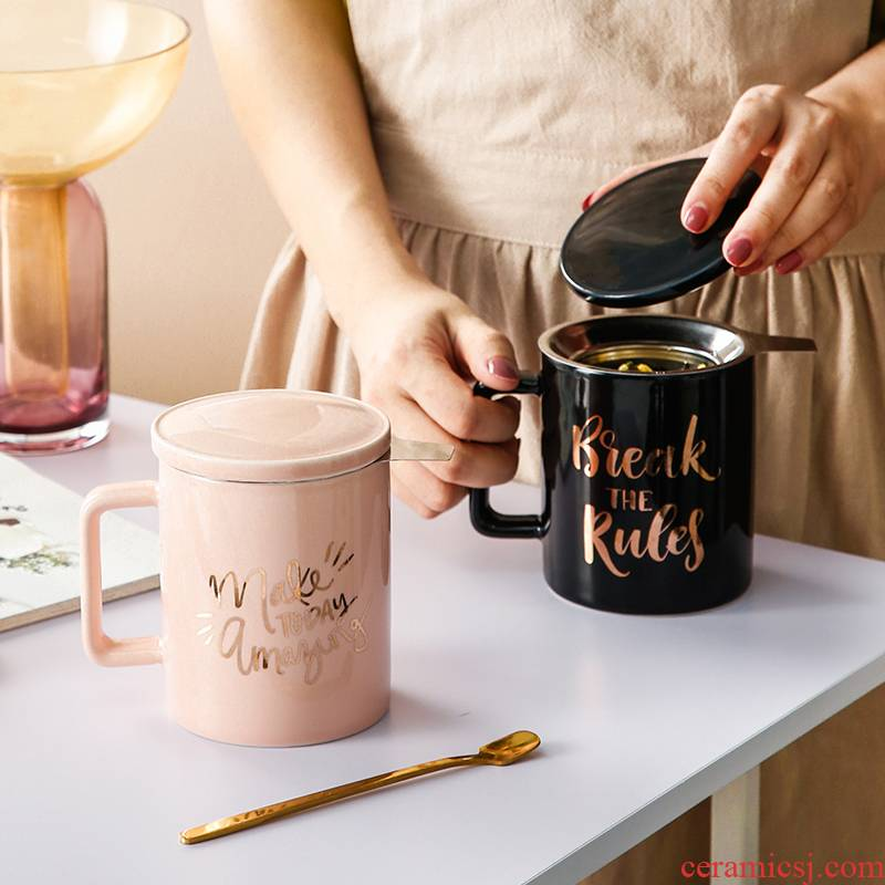 Creative move with cover glass ceramic keller spoon tide lovers ultimately responds a cup of coffee cup men 's and women' s cup