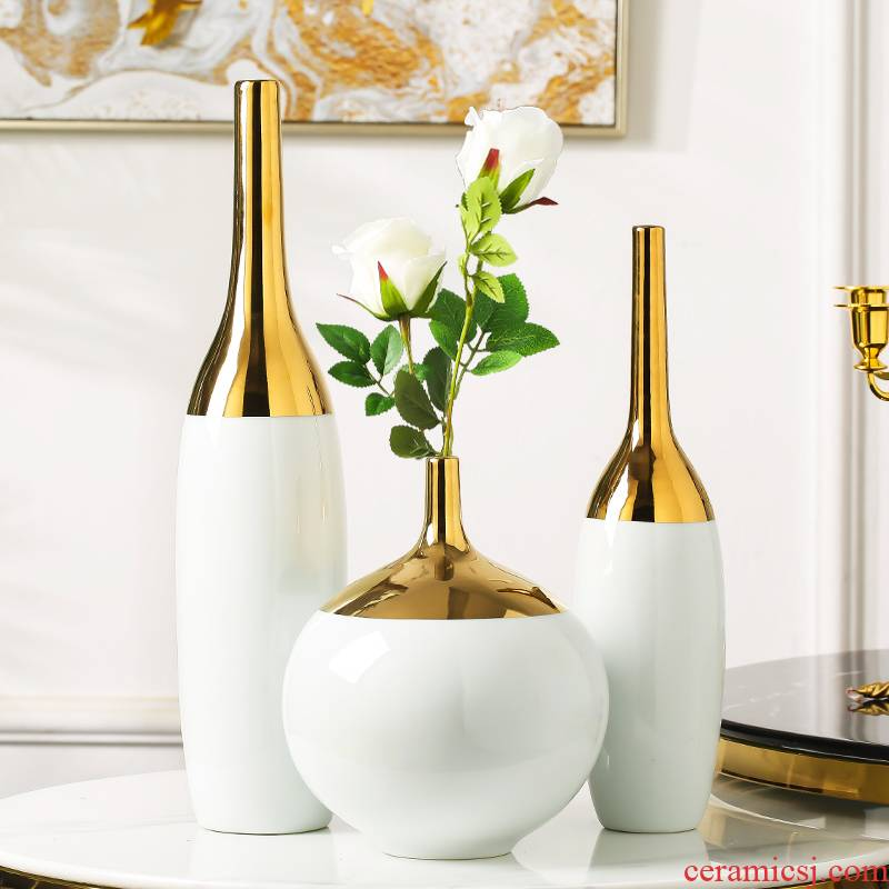 I and contracted light key-2 luxury furnishing articles of Chinese style household light white gold plated edge ceramic vase key-2 luxury living room dry flower decoration