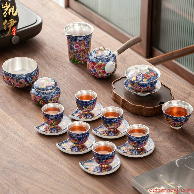 Flower embroidery colored enamel coppering. As silver tea set silver tureen of jingdezhen ceramic tea cup, office home