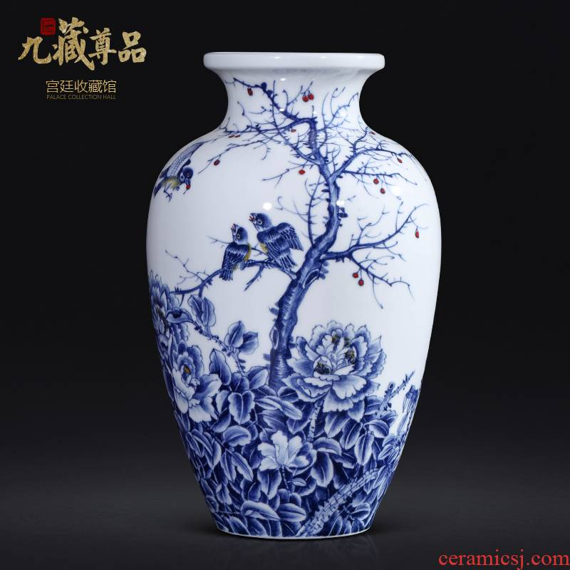 Master hand made green flower vase jingdezhen ceramic Chinese style living room TV ark, flower arranging porch is decorated furnishing articles