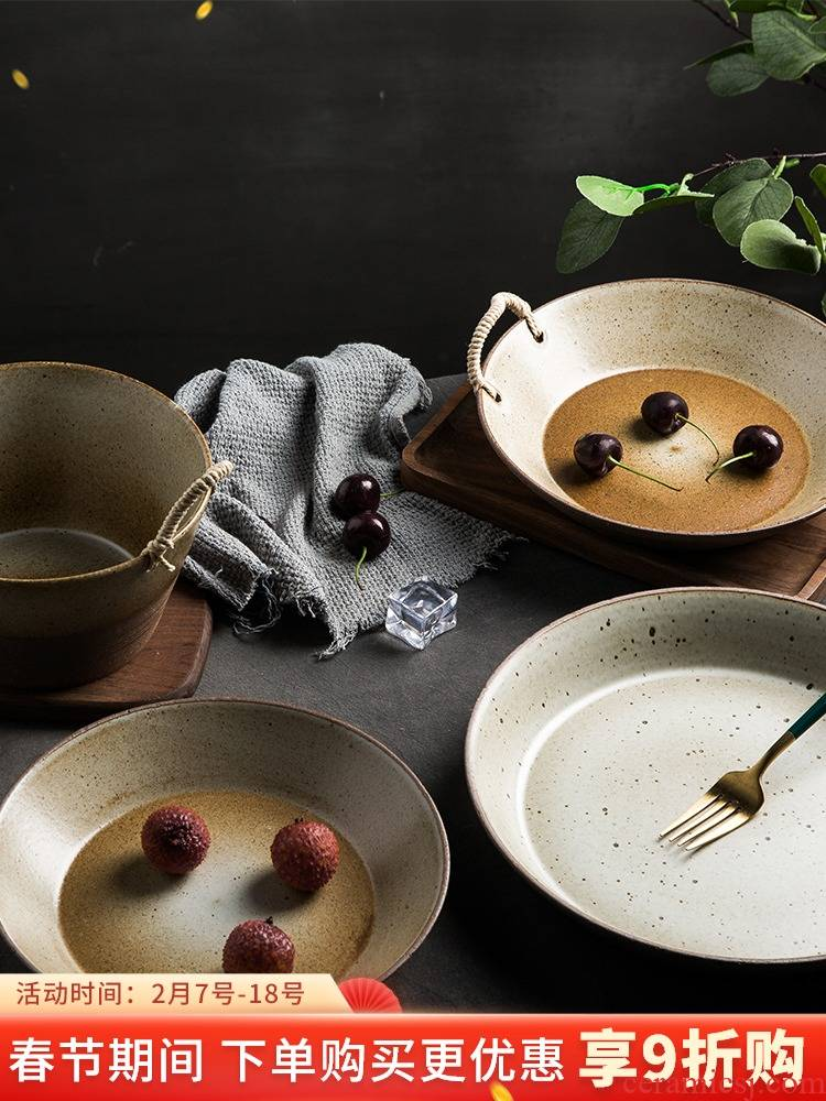 Manual Japanese - style tableware suit household retro coarse pottery dishes thickening insulating course dish move feeder can microwave oven