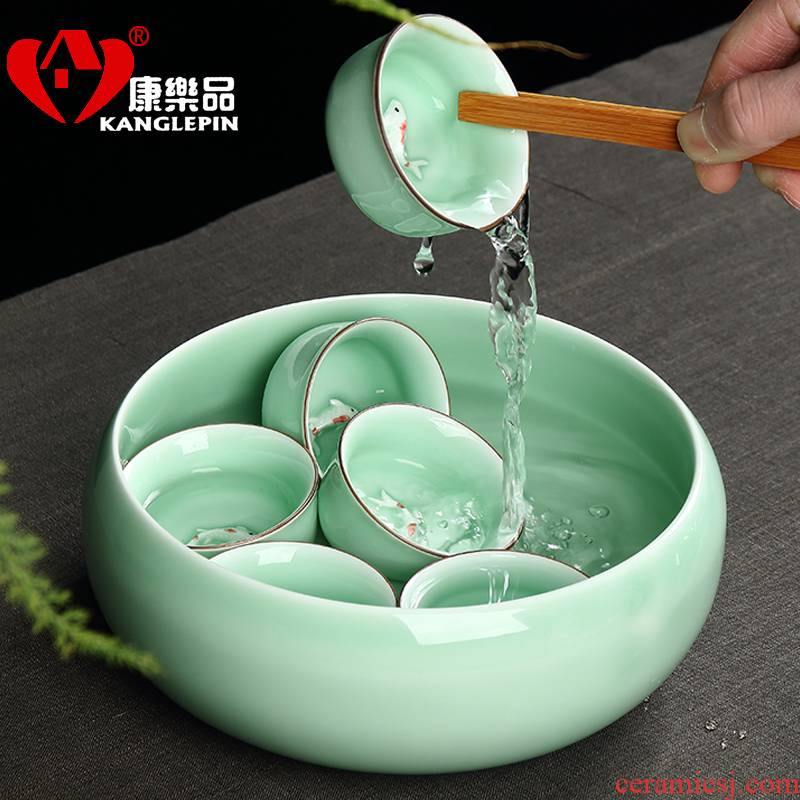 Recreation celadon tea wash large ceramic household washing bowl cup pen kung fu tea tea accessories water to wash the dishes
