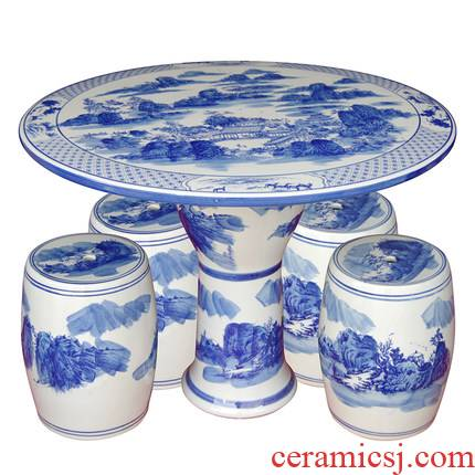 Jingdezhen ceramic table who suit small tea table is suing courtyard garden balcony terrace is suing leisure round tables and chairs