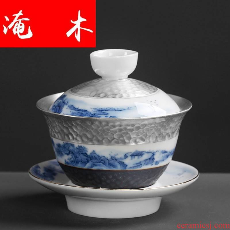 Submerged wood hand - made tureen tea cups, only three cups Chinese worship of blue and white porcelain bowl tea tasted silver gilding three cups