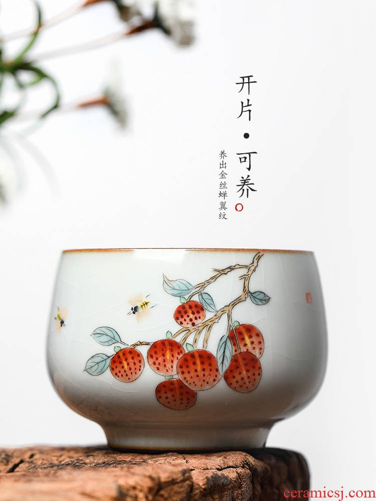 The Master cup single cup your up sample tea cup jingdezhen hand - made ceramic tea set pure manual kung fu tea cups litchi to the CPU