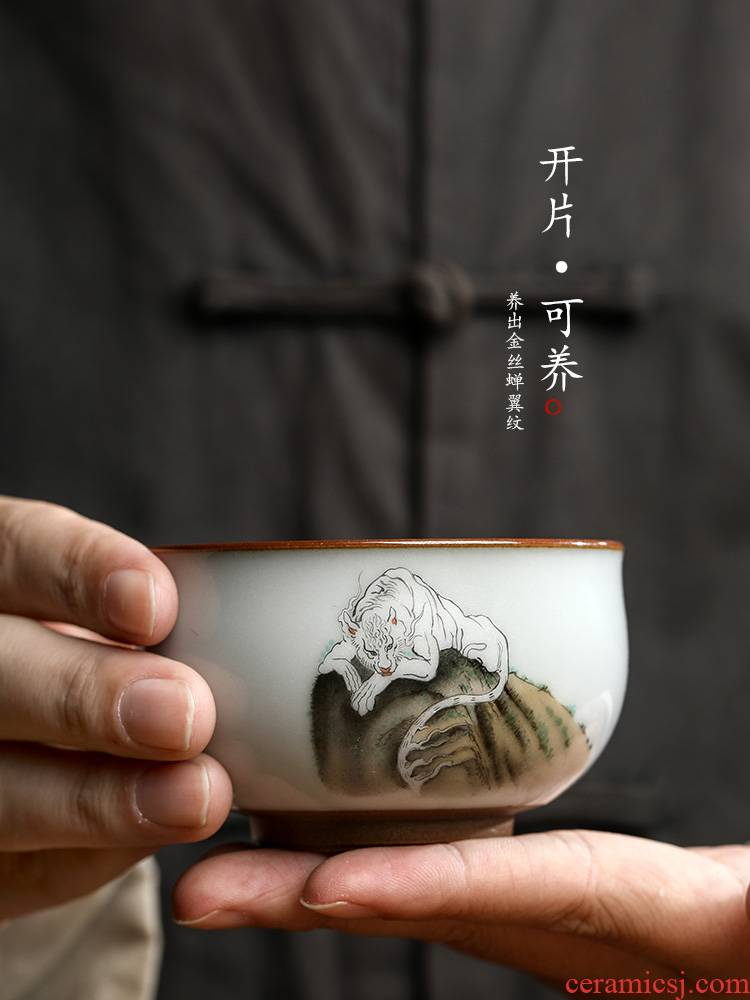 Pure manual your up master kung fu tea cup single CPU jingdezhen hand - made zodiac tiger a single tea sample tea cup