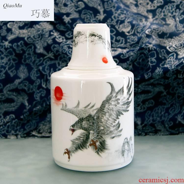 Qiao mu thin fetal ipads porcelain two temperature wine pot hot and hot wine wine suits for ceramics hip jingdezhen yellow glass